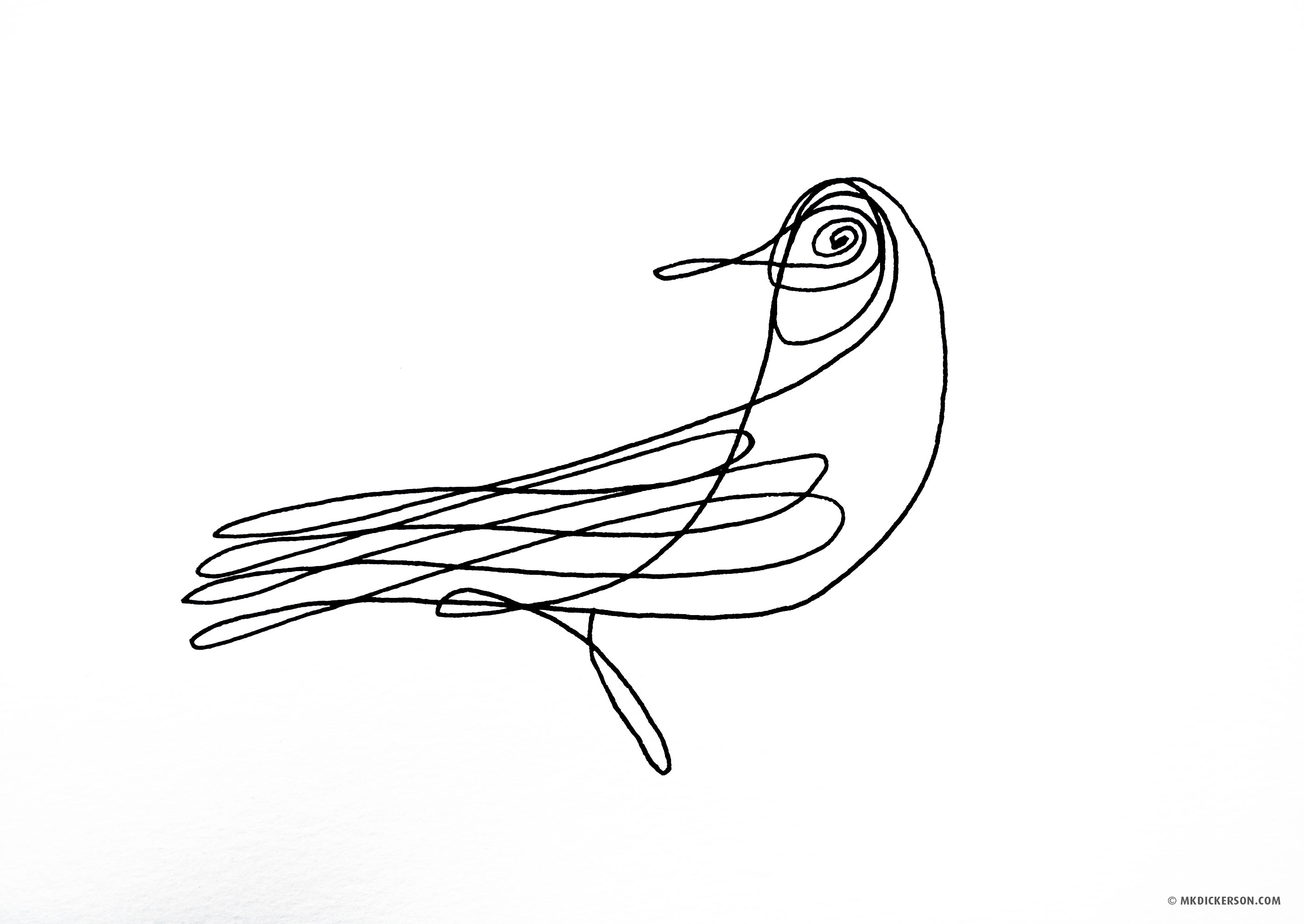 Continuous Line Drawing Easy : Visual arts bird a day art